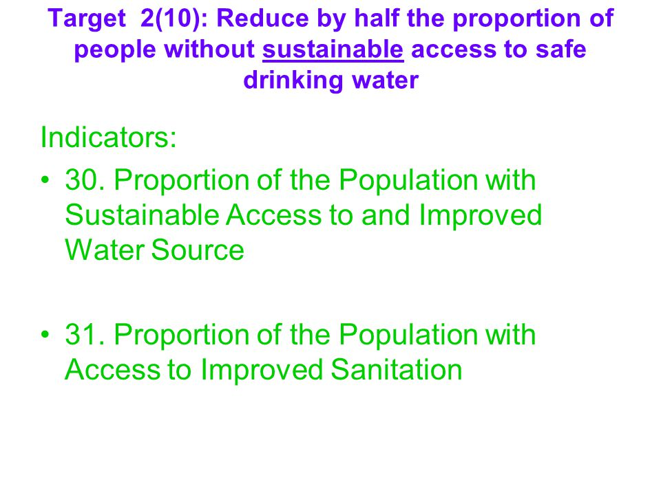 31. Proportion of the Population with Access to Improved Sanitation