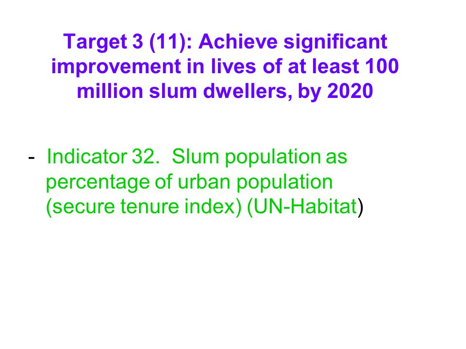 Target 3 (11): Achieve significant improvement in lives of at least 100 million slum dwellers, by 2020