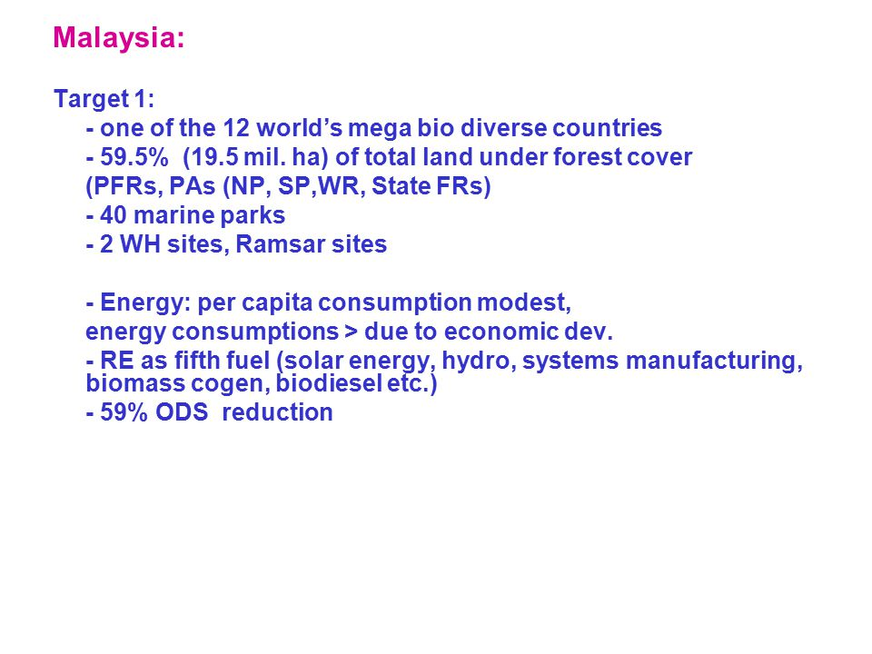 Malaysia: Target 1: - one of the 12 world's mega bio diverse countries