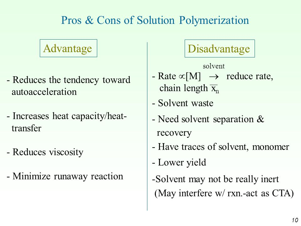 Pros & Cons of Solution Polymerization
