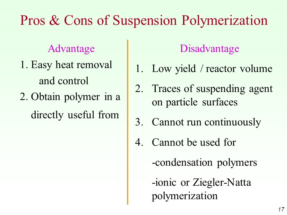 Pros & Cons of Suspension Polymerization