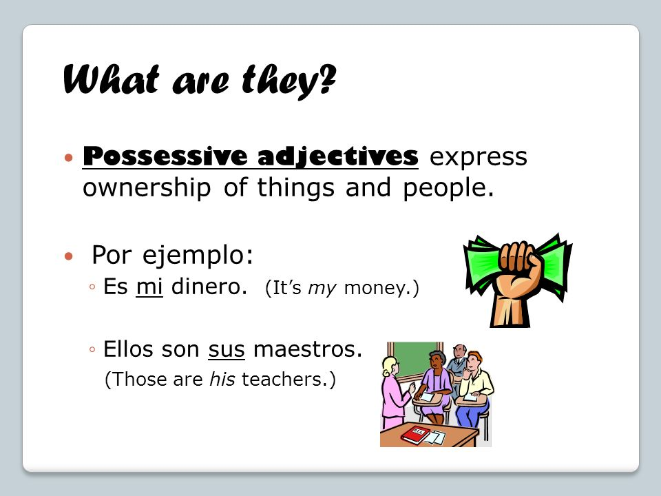 What are they Possessive adjectives express ownership of things and people. Por ejemplo: Es mi dinero. (It's my money.)