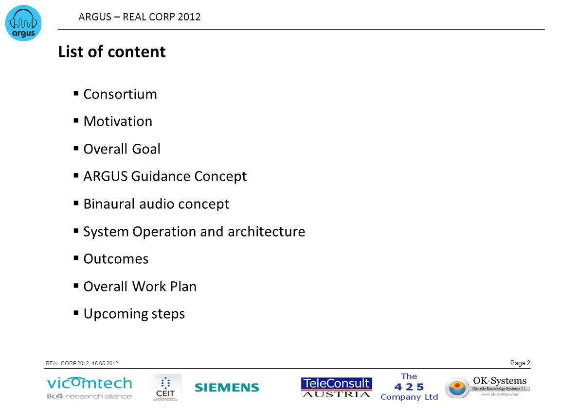 List of content Consortium Motivation Overall Goal