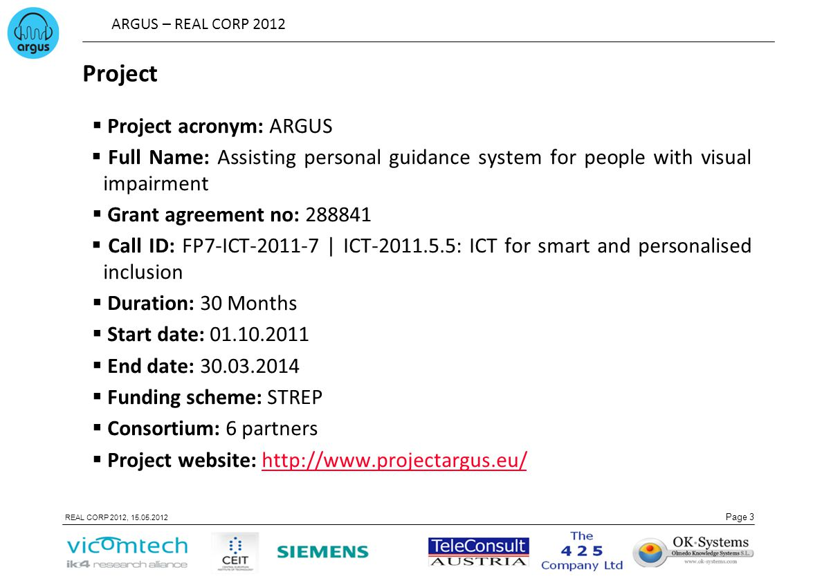 Project Project acronym: ARGUS