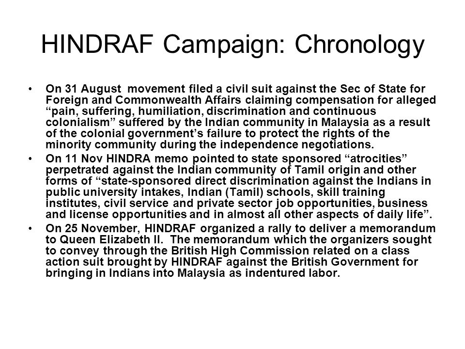 HINDRAF Campaign: Chronology