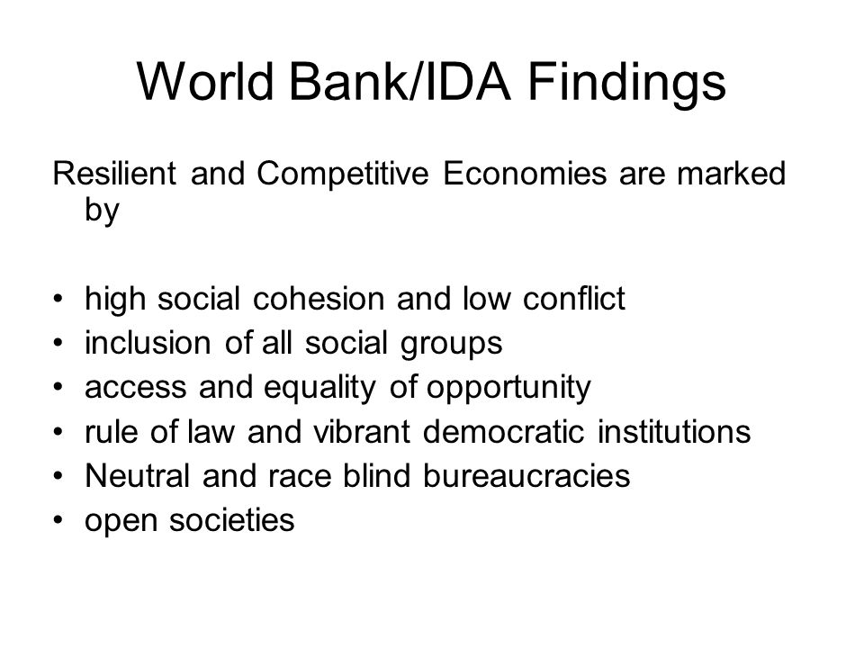 World Bank/IDA Findings
