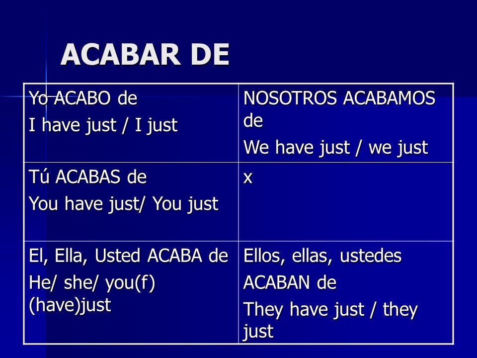 ACABAR DE Yo ACABO de I have just / I just NOSOTROS ACABAMOS de