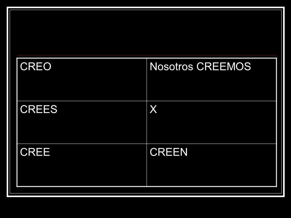 CREO Nosotros CREEMOS CREES X CREE CREEN