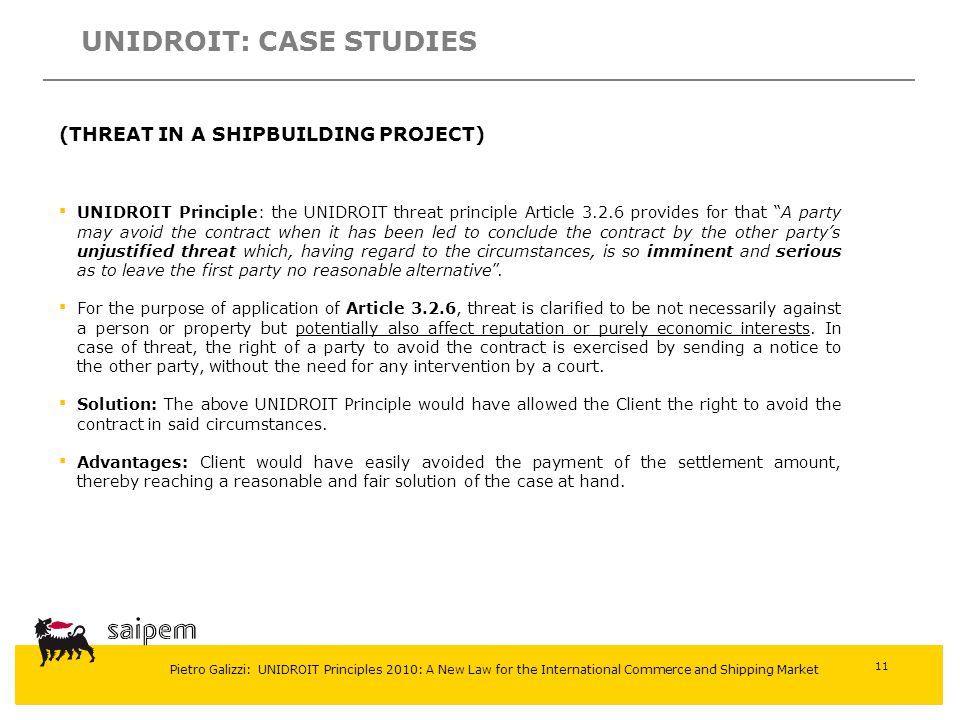 UNIDROIT: CASE STUDIES