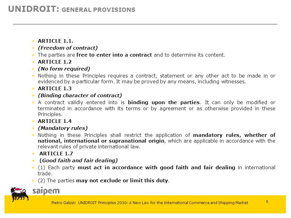 UNIDROIT: General provisions