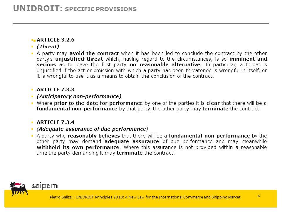UNIDROIT: Specific provisions
