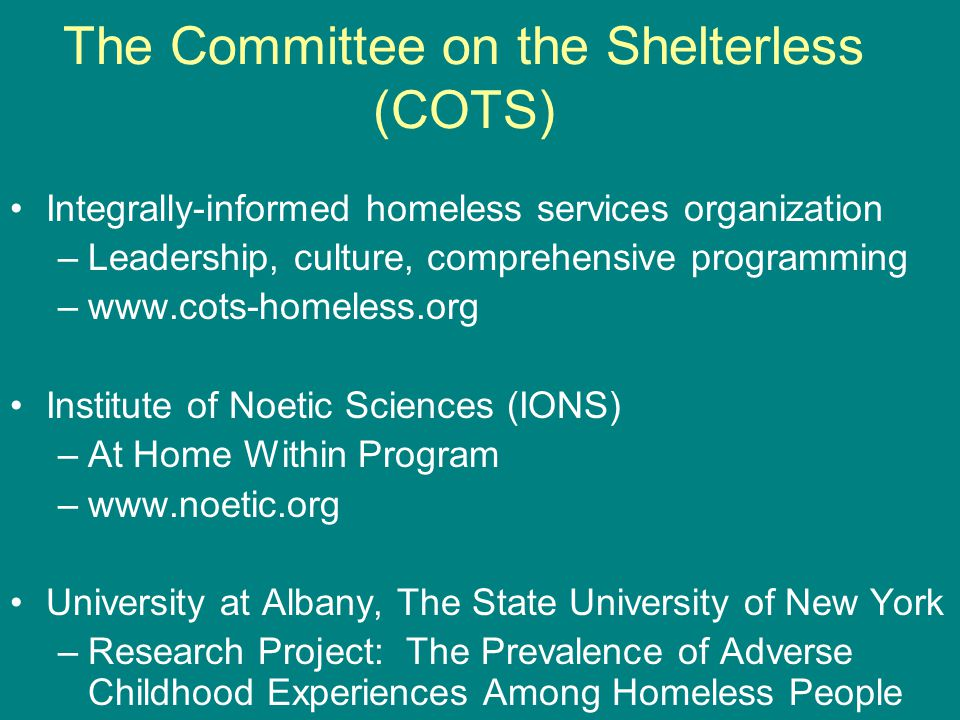 The Committee on the Shelterless (COTS)