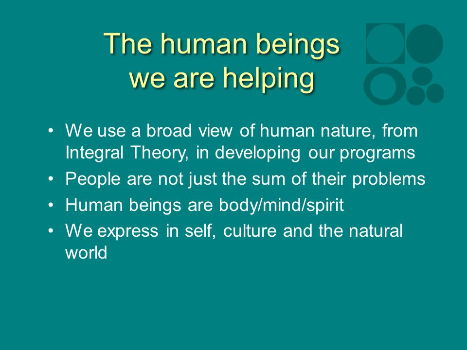 The human beings we are helping