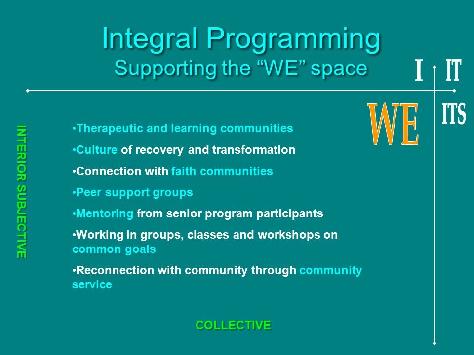 Integral Programming Supporting the WE space