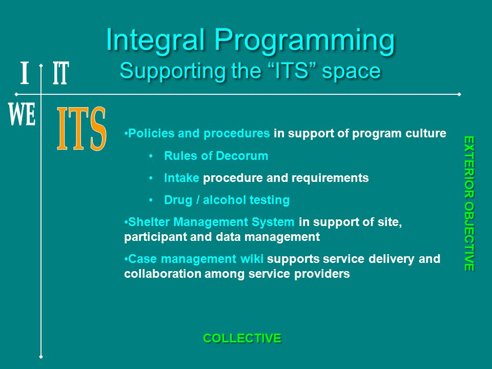 Integral Programming Supporting the ITS space