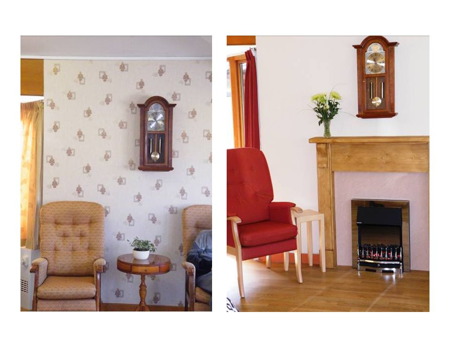 Same living room before and after, left shows patterned wallpaper, very little contrast, right picture shows more homely surroundings with fireplace, good contrast on walls, curtains and furnishings.