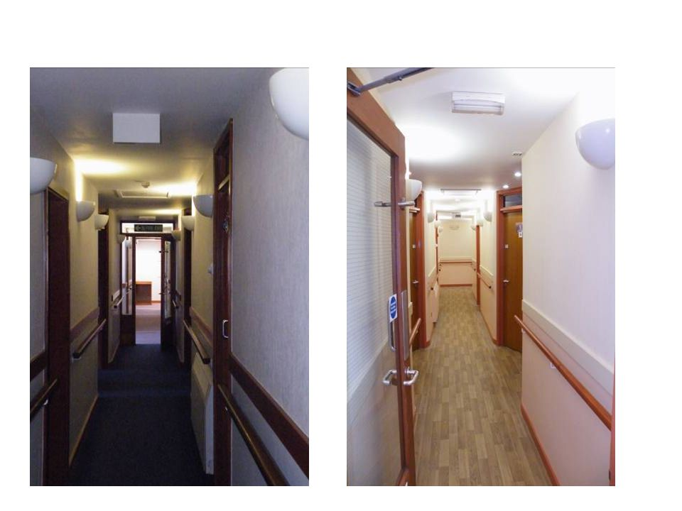 Same corridor before and after, left shows dark flooring dark contrasts which create shadows.