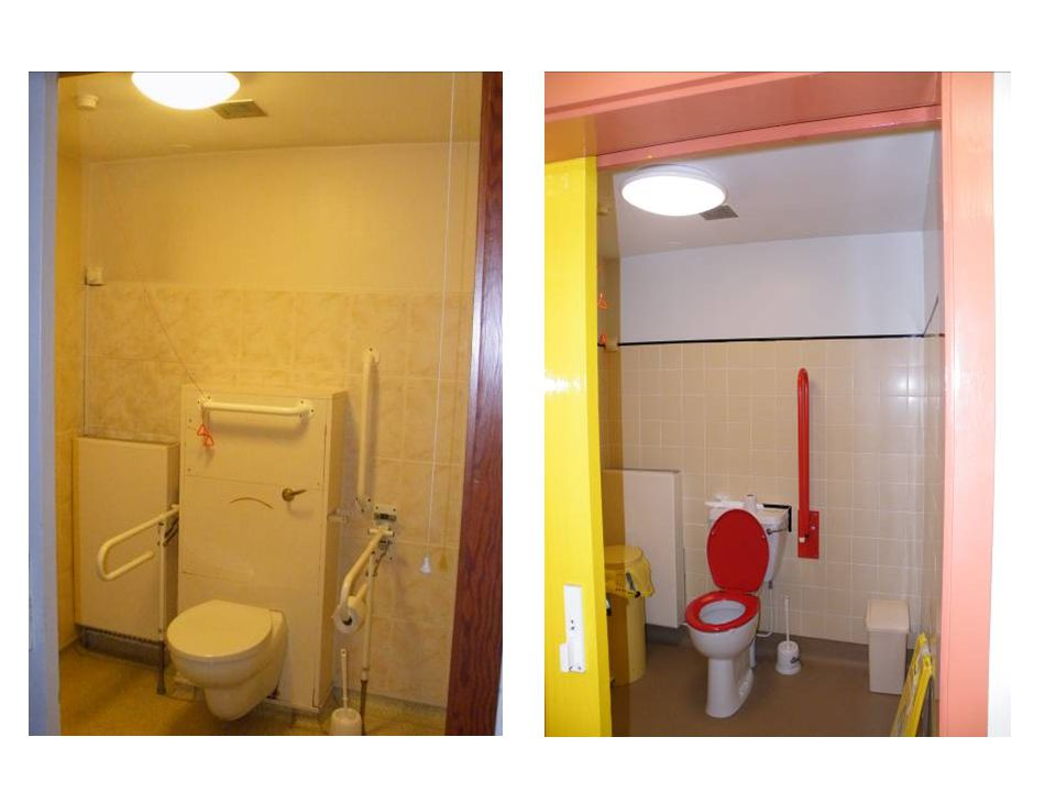 Same toilet before and after discuss the contrast
