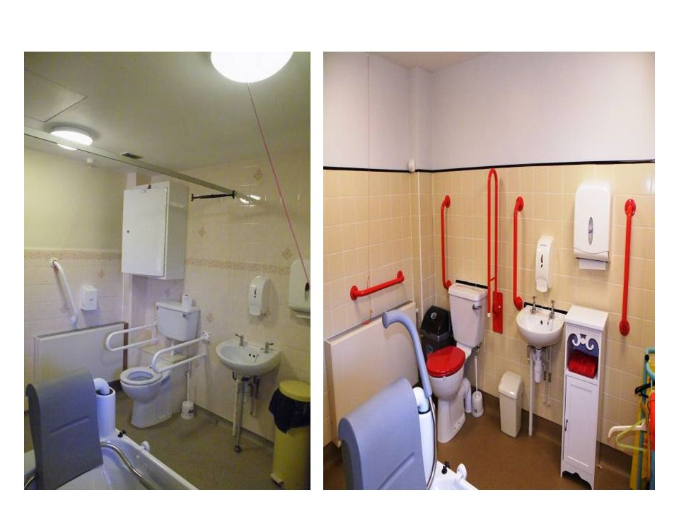 Same bathroom before and after discuss contrast