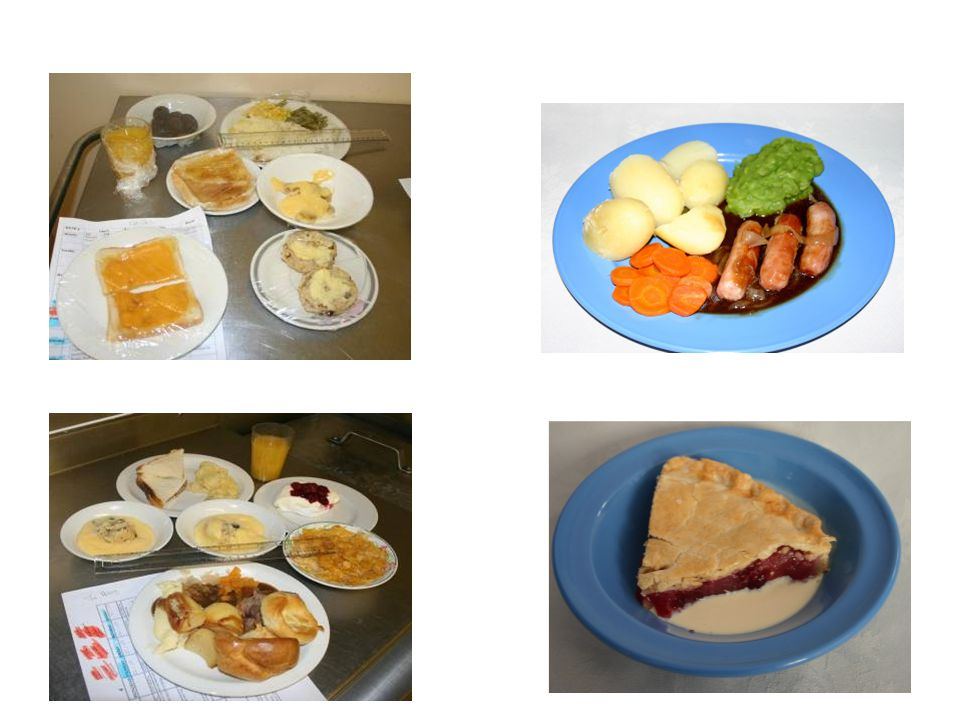 Food generally served in care homes are on white plates and food tends to be bland in colour.
