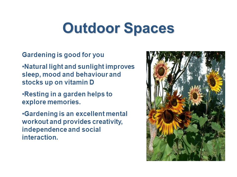 Outdoor Spaces Gardening is good for you