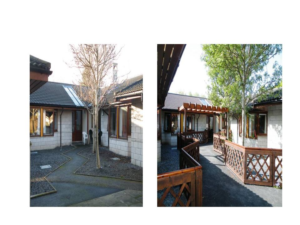 Before and after, left shows narrow path with no plants or areas of interest therefore never used.