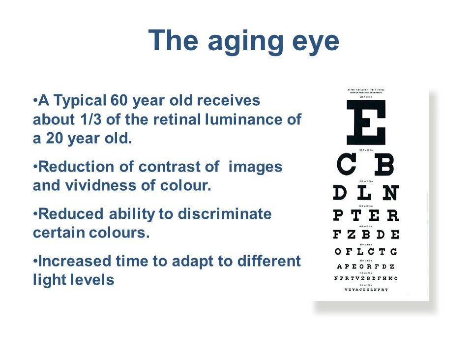 The aging eye A Typical 60 year old receives about 1/3 of the retinal luminance of a 20 year old.