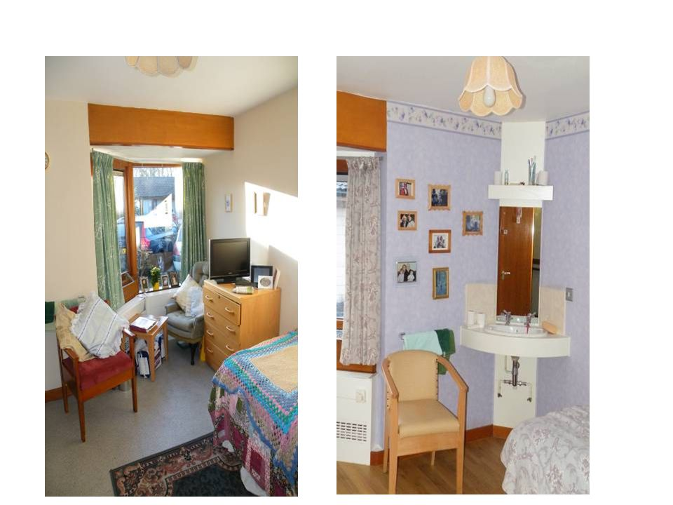 A typical bedroom before the changes, rugs that can cause slips, very little contrast between sink, and surround, curtains, wall mirror above sink if the person does not recognise self.