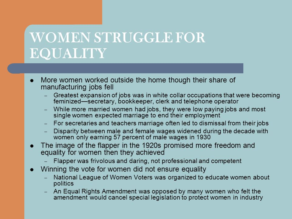 WOMEN STRUGGLE FOR EQUALITY