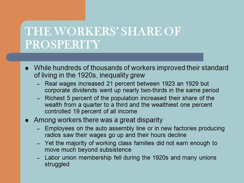 THE WORKERS' SHARE OF PROSPERITY