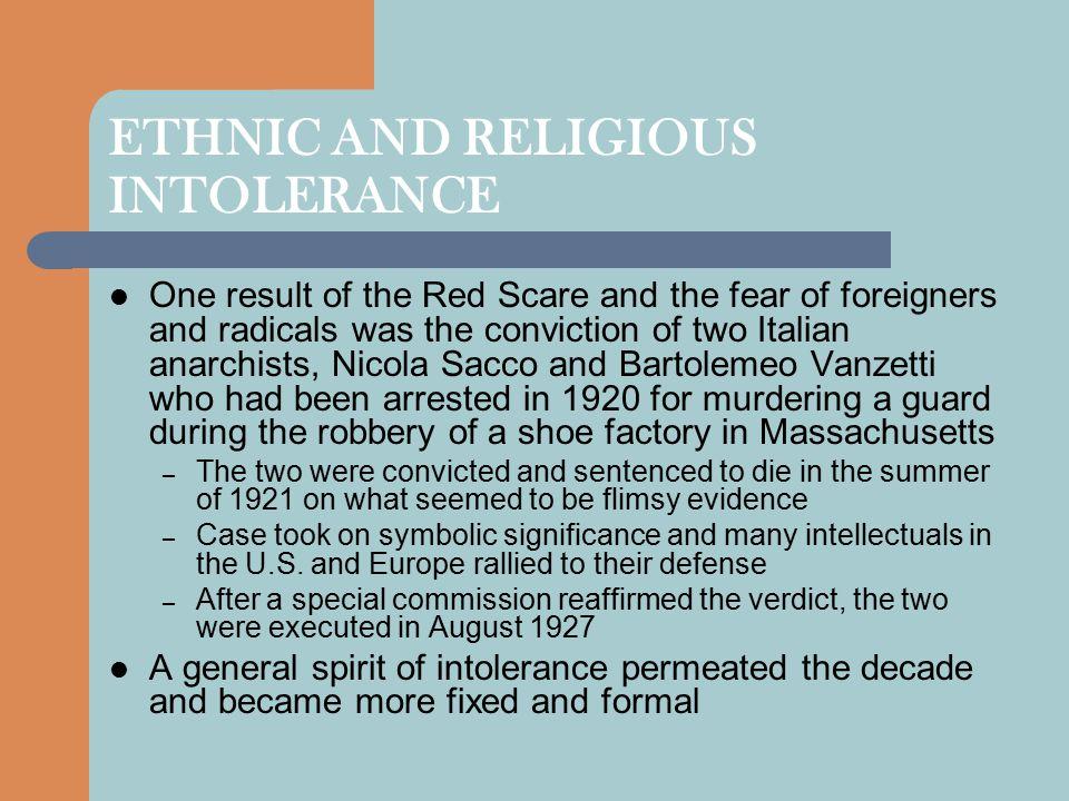 ETHNIC AND RELIGIOUS INTOLERANCE