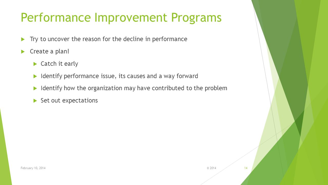 Performance Improvement Programs