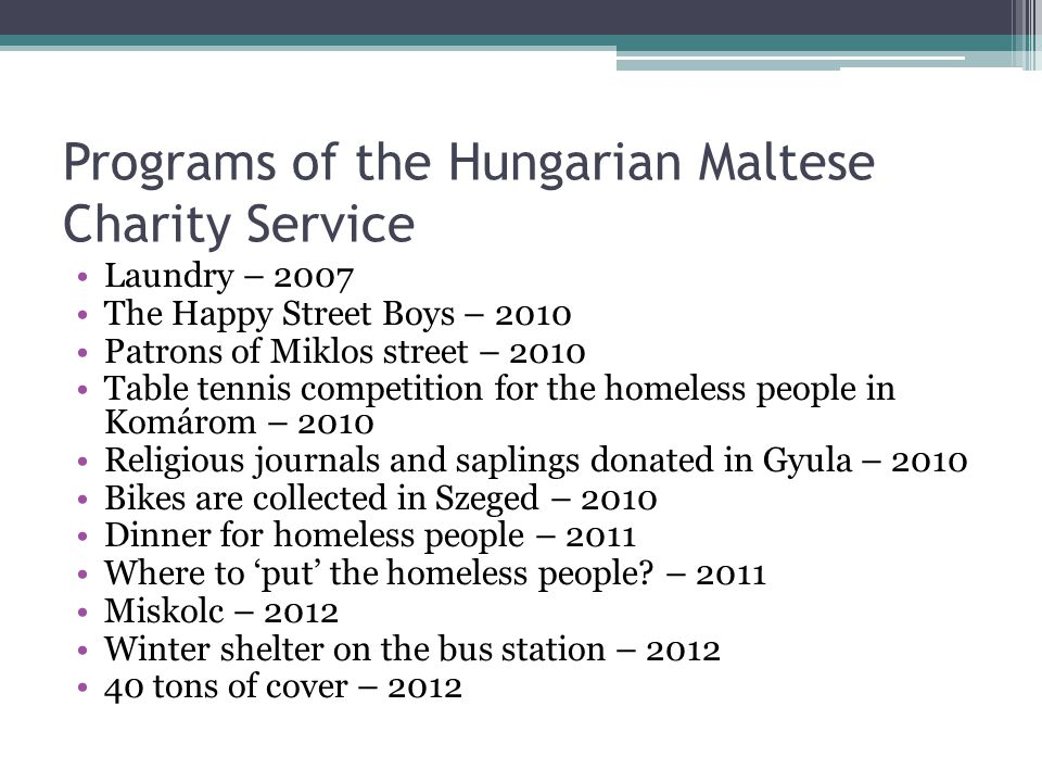 Programs of the Hungarian Maltese Charity Service