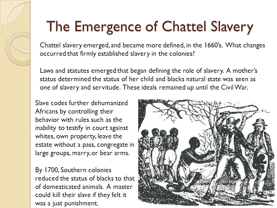 The Emergence of Chattel Slavery