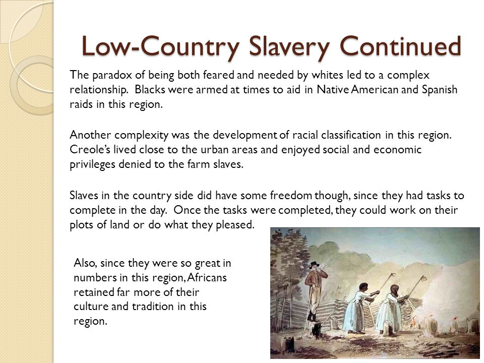 Low-Country Slavery Continued