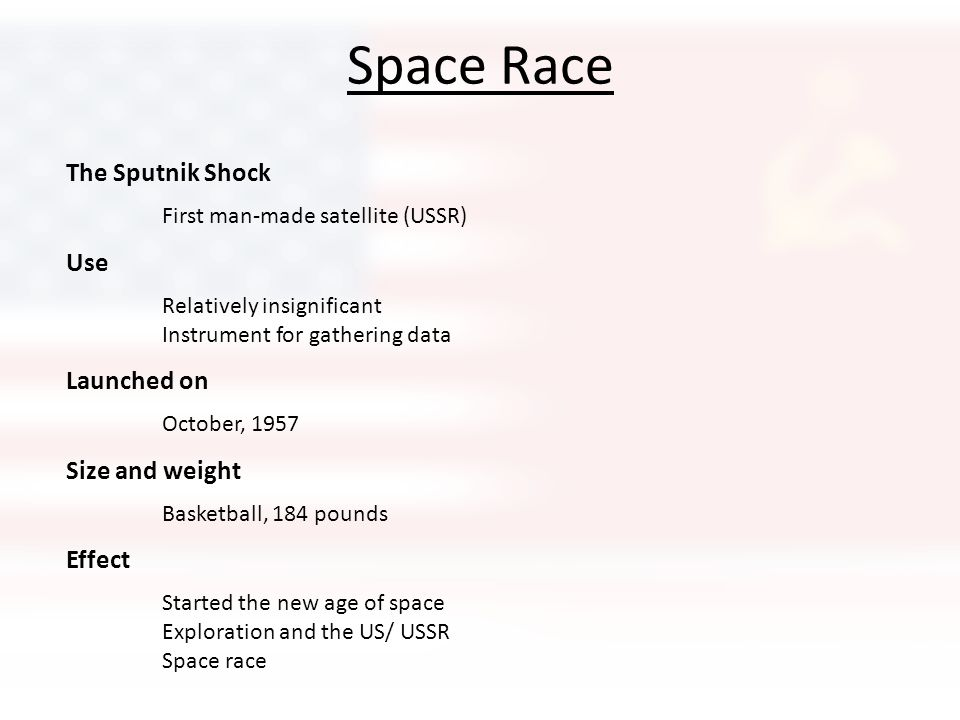 Space Race The Sputnik Shock Use Launched on Size and weight Effect