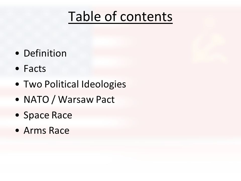 Table of contents Definition Facts Two Political Ideologies