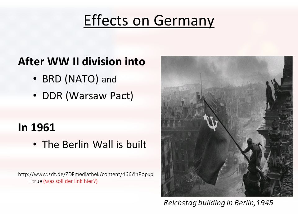Effects on Germany After WW II division into In 1961 BRD (NATO) and