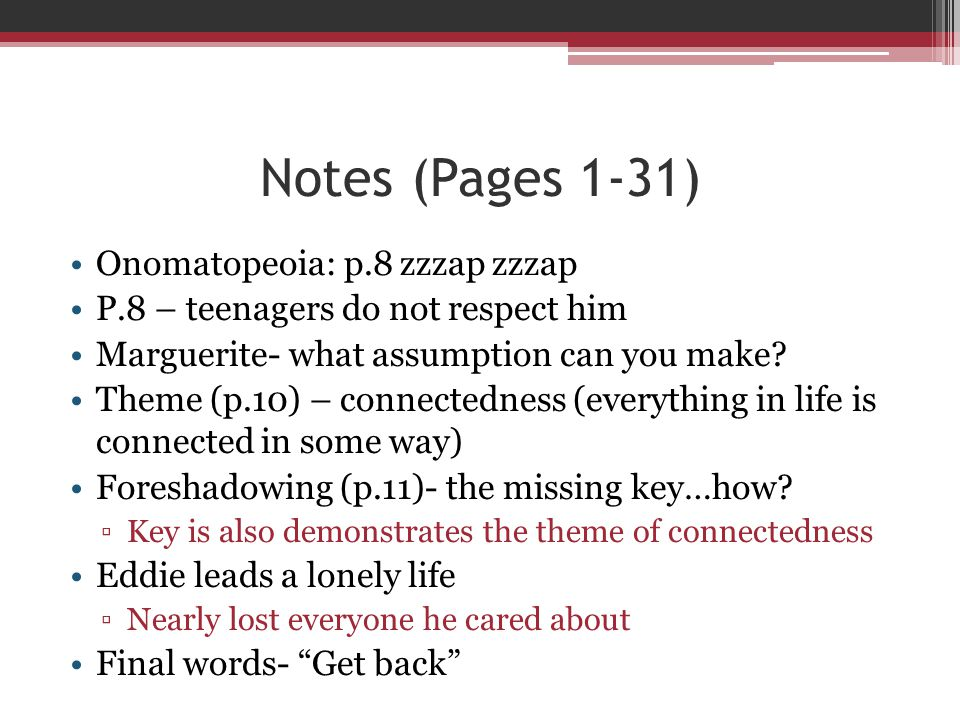 Notes (Pages 1-31) Onomatopeoia: p.8 zzzap zzzap
