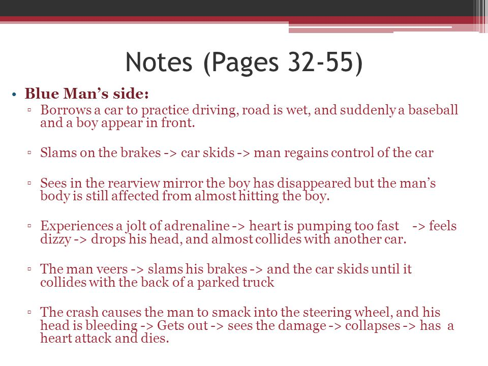 Notes (Pages 32-55) Blue Man's side: