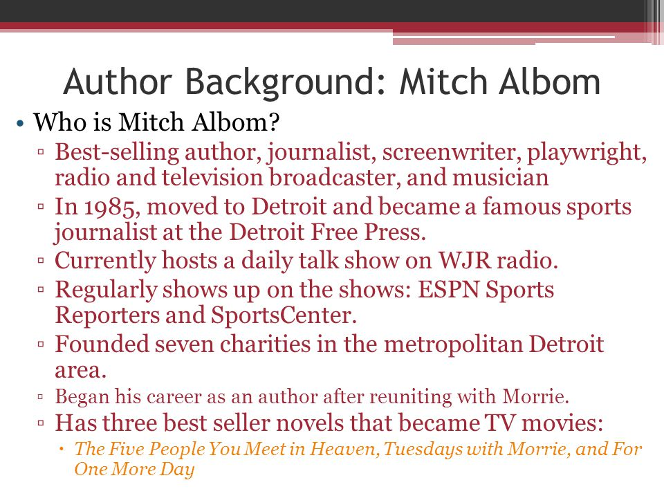 Author Background: Mitch Albom