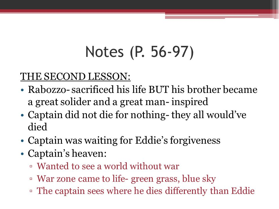 Notes (P. 56-97) THE SECOND LESSON: