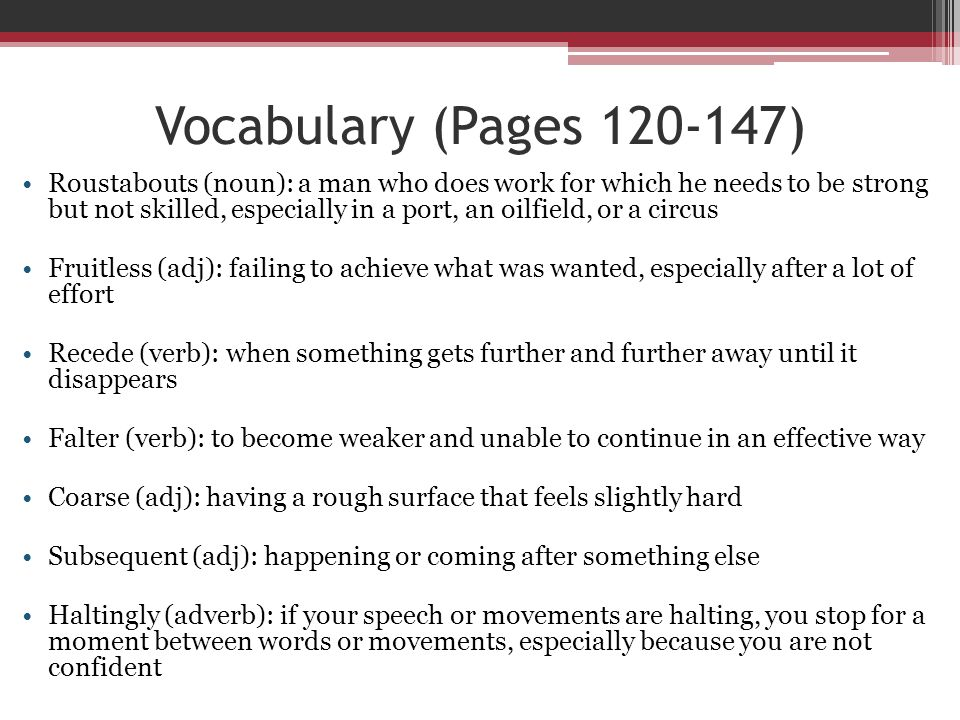 Vocabulary (Pages 120-147)