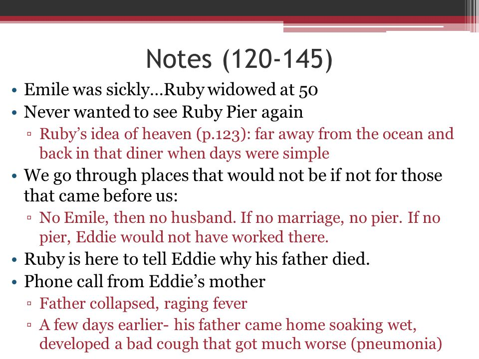 Notes (120-145) Emile was sickly…Ruby widowed at 50