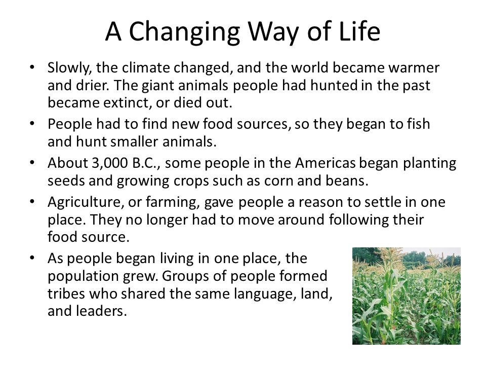 A Changing Way of Life