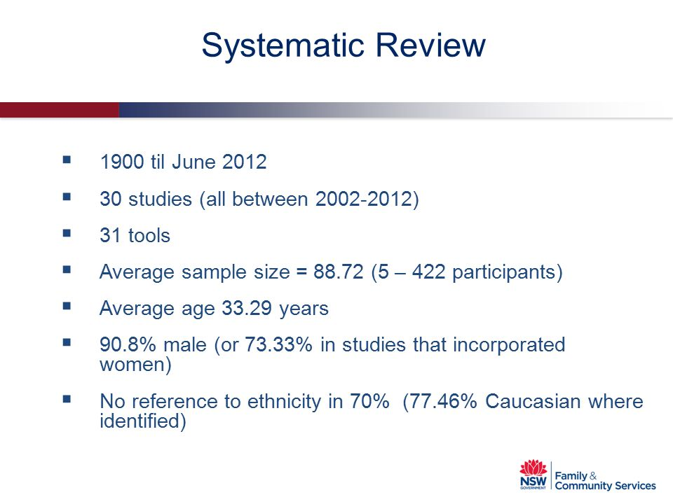 Systematic Review 1900 til June 2012