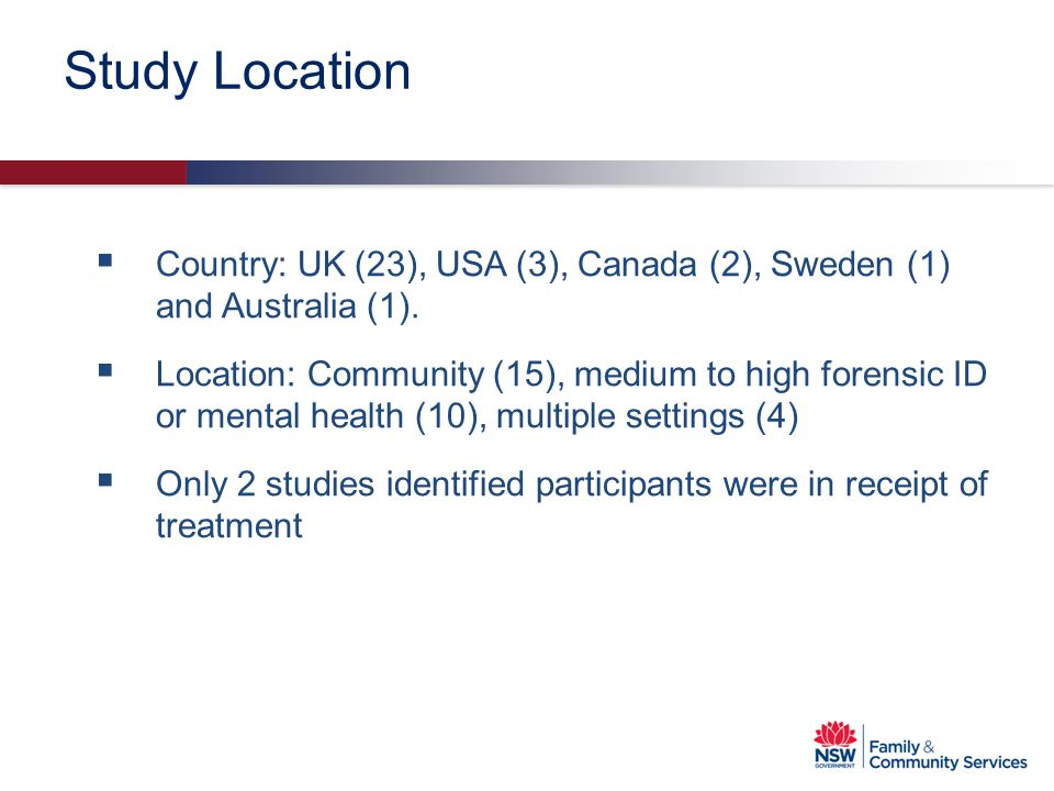 Study Location Country: UK (23), USA (3), Canada (2), Sweden (1) and Australia (1).