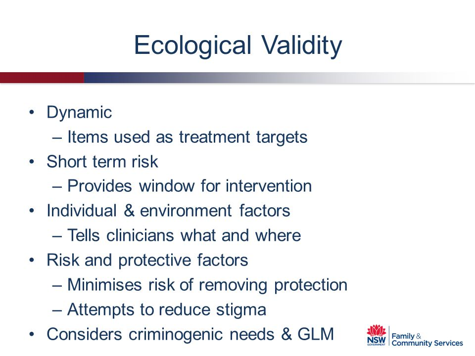 Ecological Validity Dynamic Items used as treatment targets