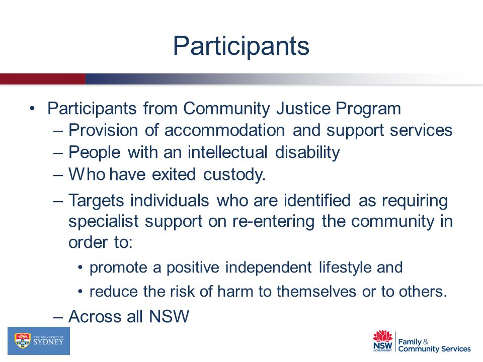 Participants Participants from Community Justice Program