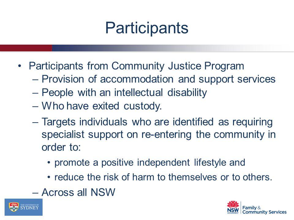 Participants Participants from Community Justice Program